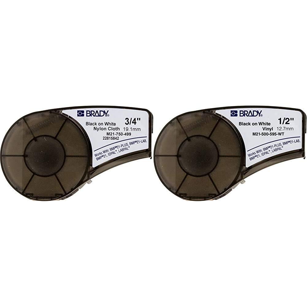 16 Length Black On White Nylon 16 Length Black On White Nylon 0.75/%22 Width /& High Adhesion Cloth Label Tape Brady High Adhesion Cloth Label Tape 0.5/%22 Width