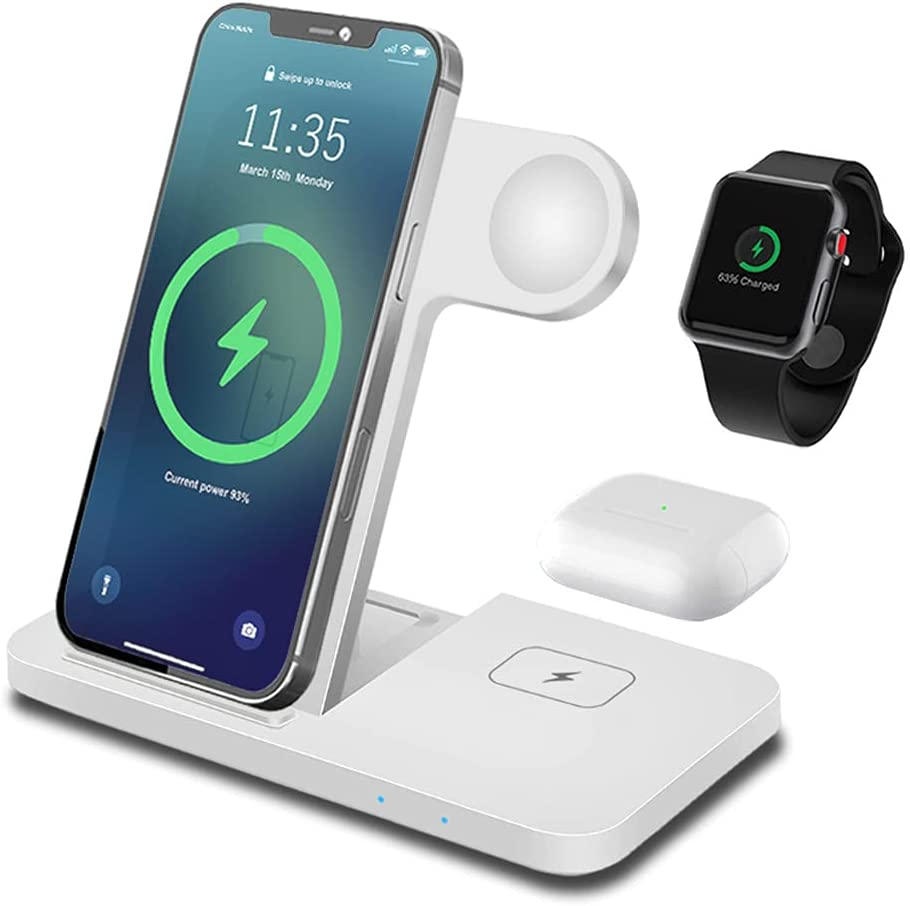 Wireless Charger Station, Qi 15W Foldable Fast 3 in 1 Wireless Charging Station for Apple Watch SE/6/5/4/3 iPhone 11/12/XR/XS/X Airpods pro/2, FDGAO Wireless Charging Stand for Galaxy S21/S20/Note 10