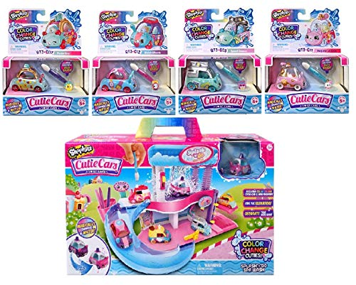 Shopkins Cutie Cars Splash N GO Spa Wash with an Additional 4 Cutie Cars, Series 3. Styles May Vary. Including Blizy Keychain.