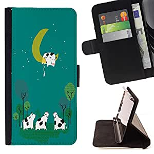 - Moon Cow Sleeping - - Style PU Leather Case Wallet Flip Stand Flap Closure Cover FOR Apple Iphone 6 PLUS 5.5 - Devil Case -