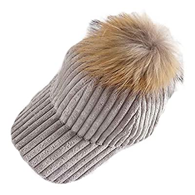 Panda Superstore Corduroy Fashion Adjustable Baseball Cap Winter Warm Hat with Fluff Ball, Grey from PANDA SUPERSTORE