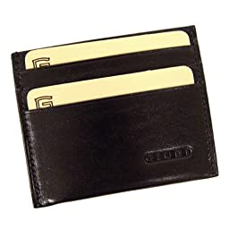 DEBITO - Slim Italian Leather Credit Card Holder with ID, Black