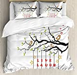 Live Laugh Love Duvet Cover Set King Size by Ambesonne, Couple of Birds in Love Sitting on a Branch with an Inspirational Quote, Decorative 3 Piece Bedding Set with 2 Pillow Shams, Multicolor