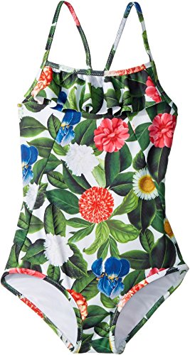 OSCAR DE LA RENTA Childrenswear Baby Girl's Flower Jungle Ruffle Swimsuit (Toddler/Little Kids/Big Kids) Spring Green 8 by OSCAR DE LA RENTA