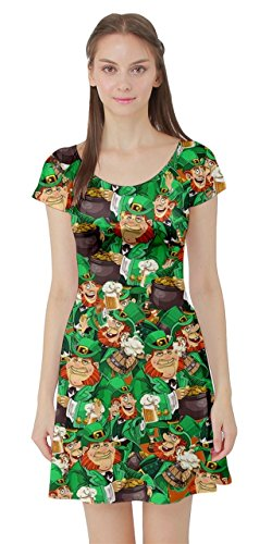 CowCow Womens St Patrick Shamrock Handraw Short Sleeve Skater Dress, Green - L -