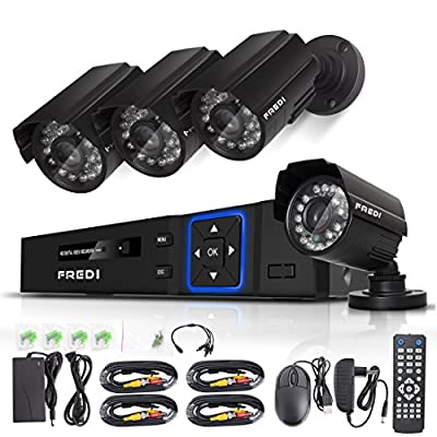 FREDI CCTV KIT 4CH AHD 720P 1MP DVR Video Surveillance System Indoor/outdoor Bullet Camera Home Security Camera System IR Night Vision/Motion Detection/Loop Video (Without Hard Drive)