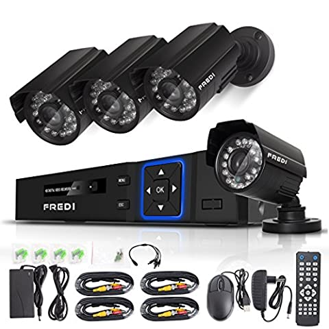 FREDI CCTV KIT 4CH AHD 720P 1MP DVR Video Surveillance System Indoor/outdoor Bullet Camera Home Security Camera System IR Night Vision/Motion Detection/Loop Video (Without Hard - Dvr Recorder Software