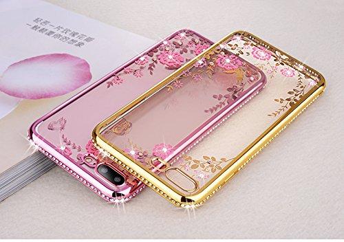 Funda iPhone 7 Plus,Manyip Alta Calidad Ultra Slim Anti-Rasguño y Resistente Huellas Dactilares Totalmente Protectora Caso de Plástico Cover Case Adecuado para iPhone 7 Plus,Flores y diamantes A