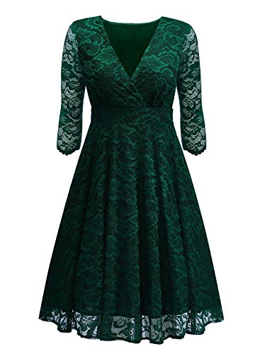lice V-Neck Retro Floral Lace Evening Dresses (Green,Large) (Green Surplice)