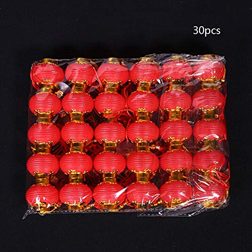 WDDH Chinese Traditional Red Lanterns,30 Pcs Lucky Hanging Lanterns Decoration- Spring Festival Hang Mini Lantern for Chinese Spring Festival and Celebration ()