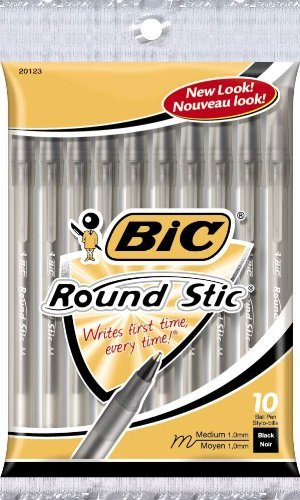BIC GSMP101-Blk Round Stic Xtra Life Ball Pen, Medium Point (1.0 mm), Black, 10-Count