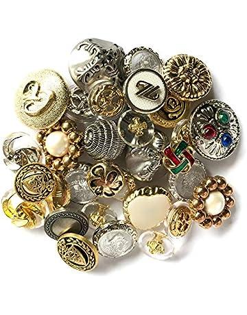 8728f12ec Botones Galore Dorado Plateado diseño de botón de plástico Resistente