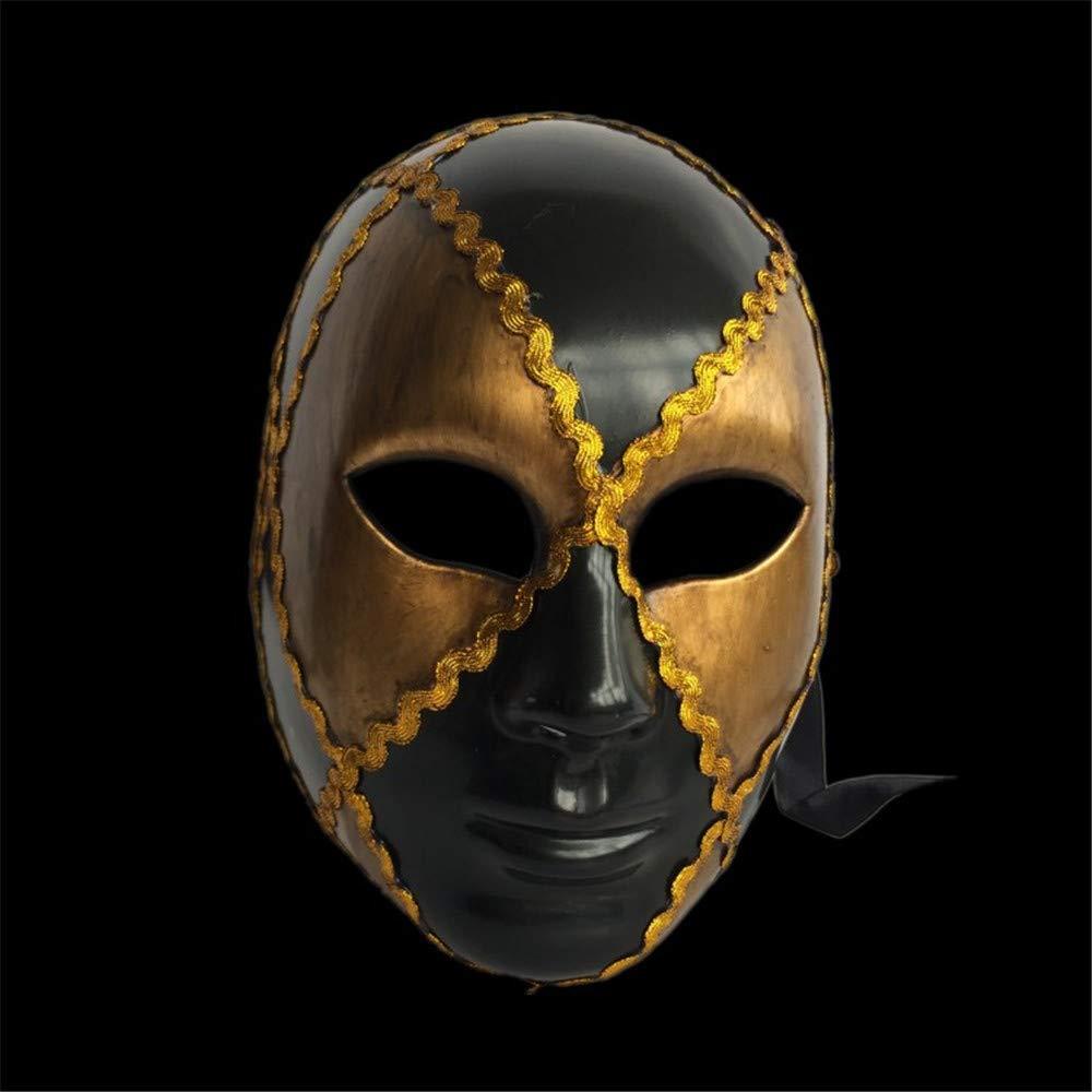 NUOKAI Karnevals Venezianische Maske Full Face Handgemalte Handgemalte Handgemalte Erwachsene Männer und Frauen Plaid Maske Halloween Dekoration, Schwarz Gold 3a7a6b