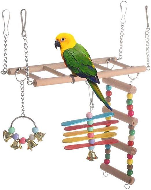 FXQIN Escalera de Madera Natural para pájaros, Juguetes para Loros Columpios de perico/Perchas para pájaros para cacatúa de Periquito de Aves pequeñas, Paquete de 4 jaulas para jaulas de Loro: Amazon.es: Productos