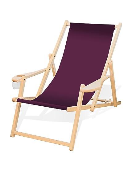 Liegestuhl Holz Mit Armlehne.Holz Liegestuhl Mit Armlehne Und Getränkehalter Klappbar Wechselbezug Aubergine
