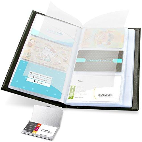 Business Card Case Set (Ohuhu Business Card Holder and Business Card Book Holders, 2-IN-1 Set of Journal Business Card Book Organizer and Stainless Steel Pocket Card Case, Hold 300 Cards)