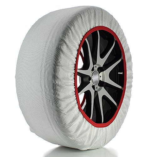 RED /& WHITE Frost /& Snow Chain Socks for 16 Tyres 215//75 R16 Husky Sumex Winter Textile Car Wheel Safety Ice
