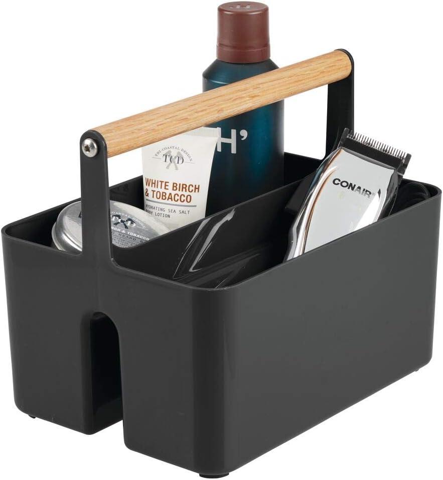 mDesign Caja organizadora para Cuarto de baño – Práctica Cesta con asa de Madera para el Almacenamiento de cosméticos – Organizador de baño portátil con 2 Compartimentos – Negro/Natural