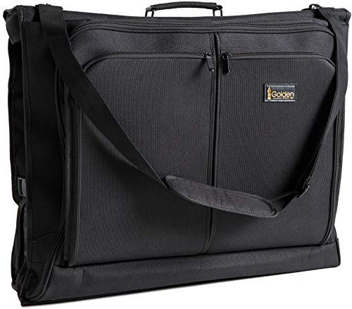 State Plane - Best Garment Bag - Black Carry On Suit Bag Dress Bag for Travel & Business Trips -w/Hanging Hook & Shoulder Strap- for Men and Women - Folding Wardrobe Carrier Luggage by Golden State Ink