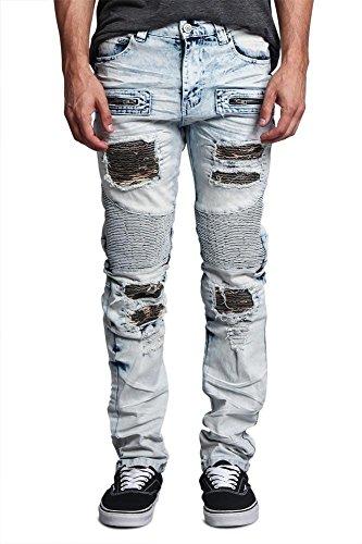 Indigo Ribbed Jeans - Victorious G-Style USA Men's Ribbed Underlayer Biker Style Moto Denim Torn Jeans Jeans DL1089 - Light Indigo - 30/30 - BB8F