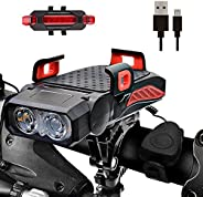 Bike Lights Front and Back Rechargeable with Phone Holder, 5 in 1 Waterproof Bicycle Headlight & Tail Ligh