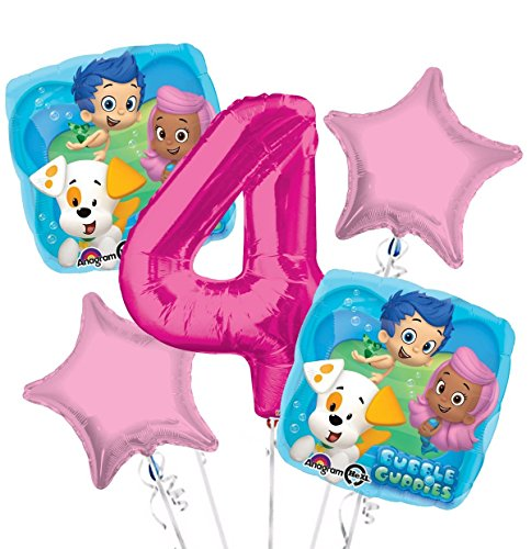 Bubble Guppies Balloon Bouquet 4th Birthday 5 pcs - Party -