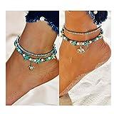 Dolovely 2PCS Boho Beach Layered Starfish Turtle Beaded Anklet Bracelet Handmade Foot Jewelry for Women Teen Girls