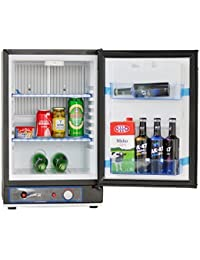 SMETA 12V Propane Refrigerator Truck Cooler No Noise AC/DC/Gas Mini Fridge,1.4 cu ft.,Black