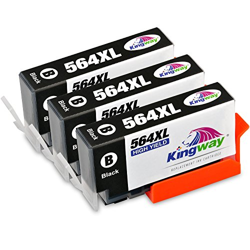 564 Ink Cartridges, Kingway 3 Pack Compatible HP 564 XL Black Ink Cartridge Replacement for HP Photosmart 5520 6520 7520 5510 6510 7510 7525 C6380 D7560 Premium C309A C410 Officejet 4620 Deskjet 3520 (Ink 564 Black)