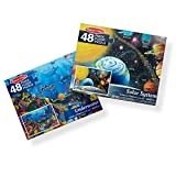 Melissa & Doug Jumbo Jigsaw Floor Puzzle Set - Solar System and Underwater (2 x 3 Feet Each, 48 Pieces Each, Great Gift for Girls and Boys - Best for 3, 4, 5, and 6 Year Olds)