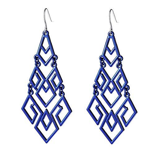 - D EXCEED Women's Royal Blue Chandelier Drop Earrings Gift Wrapped Fashion Gold Cutout Tiered Dangle Drop Earrings