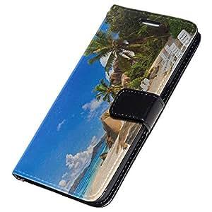 Playa 003, Negro Funda de Piel Cuero Case Magnética con Función de Soporte Carcasa con Diseño Colorido para Samsung Galaxy S7