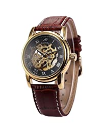 KS Gold Skeleton Automatic Mechanical Mens Brown Leather Wrist Watch KS032