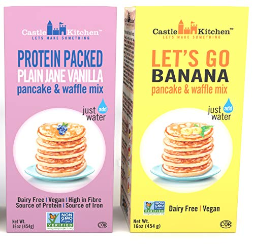 Plant-Based Pancake and Waffle Mix Variety Pack - Dairy-Free, Vegan Complete Mixes, Just Add Water - Let's Go Banana & Protein Pack Plain Jane Vanilla - 16 oz Each Box (Pack of 2)