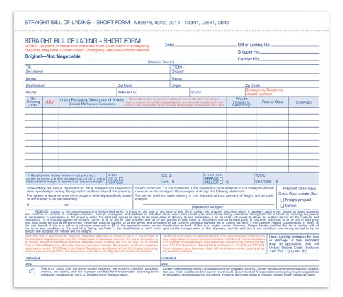 AmazonCom  Adams Bill Of Lading Short Form  X  Inches