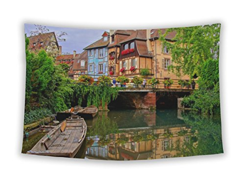 Gear New Wall Tapestry For Bedroom Hanging Art Decor College Dorm Bohemian, Tranquil Canals Reflections Pretty Town Colmar Alsace France, 104x88
