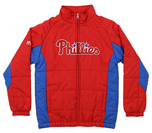 Outerstuff MLB Youth's Double Climate Full Zip Jacket, Philadelphia Phillies Medium (10-12) ()