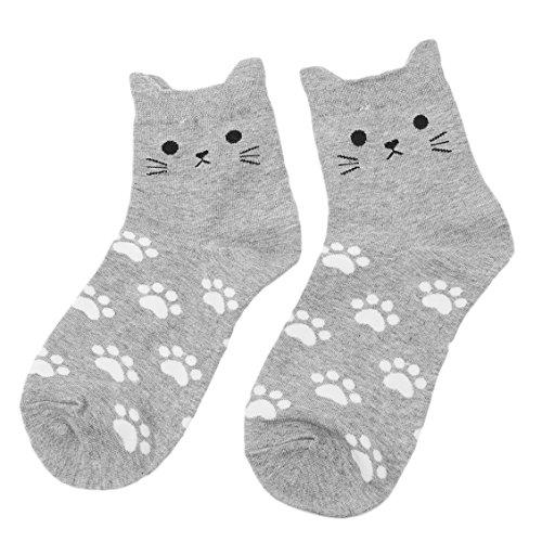 Dolland Kids Girls Cute Animal Cotton Socks Funny Crew Socks Christmas Gift,Gray