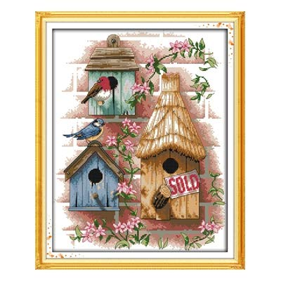 Zamtac Crossstitch kit DIY Van Log Cabin Shop Scenic DMC14CT 11CT cottonfabric Baby Room livingroom Hotel Painting Wholesale - (Color: XF190, Cross Stitch Fabric CT Number: 11CT Picture Printed)