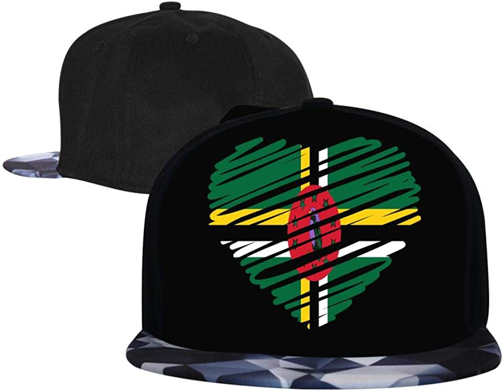 EUYK77 Dominica Flag Mens and Womens Trucker Hats Adjustable Hip Hop Flat-Mouthed Baseball Caps