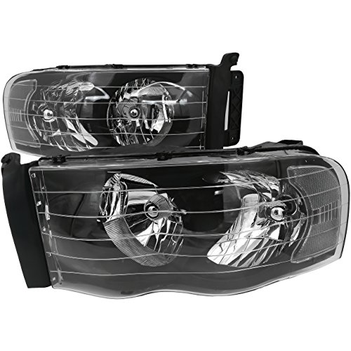 AJP Distributors For Dodge Ram 1500 2500 3500 Truck Pick Up Headlights Head Lamps Lights Upgrade Replacement 2002 2003 2004 2005 02 03 04 05 (Black Housing Clear Lens Clear Reflector)