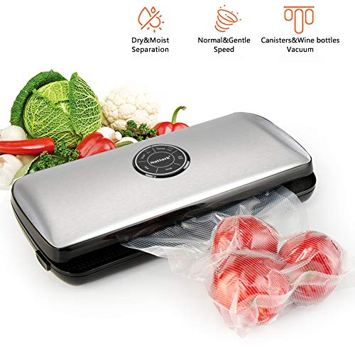 Nattork Vacuum Sealer Machine for food, Dry & Moist, Normal & Gentle Modes for Food Preservation with Starter Bags and Roll Starter Kit for Food Saver and Sous Vide