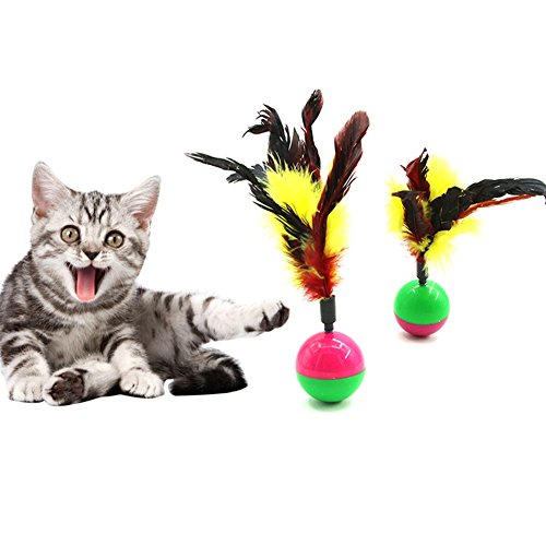 (Makwes Creative Cute Pet Cat Kitten Training Funny Tumbler Feather Play Toy Ball Gift,Tumbler Feather Toy,Spherical Kitten Interactive Toys (Multicolor))