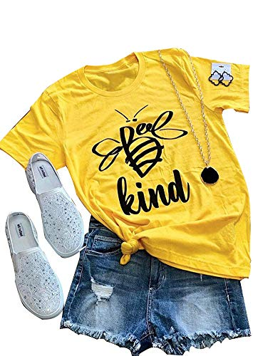 Women Be Kind Tshirt Short Sleeve Funny Cute Bee Graphic Tees Casual Tops (L) Yellow