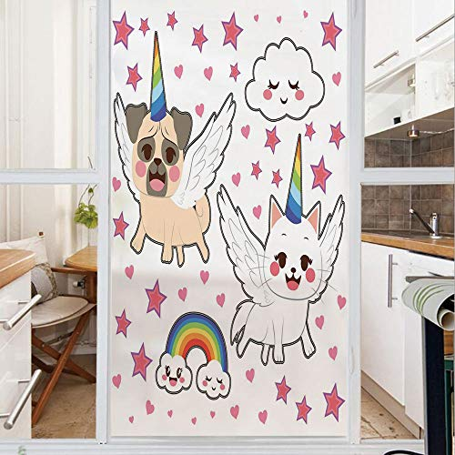 Decorative Window Film,No Glue Frosted Privacy Film,Stained Glass Door Film,Comic Pop Art Style Fiction Animals Adorable Funny Faces Rainbow Horns Stars,for Home & Office,23.6In. by 59In Multicolor