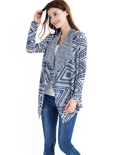 para Cardigan Mujeres Tkiames Mantón raya irregular de Azul2 abrigo kimono Tops cubre d8qqwXZg