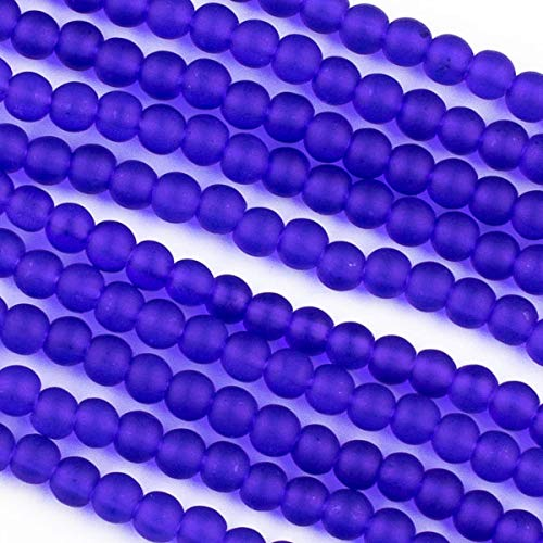 Cherry Blossom Beads Cultured Sea Glass 4mm Matte Royal Blue Round Beads - 16 Inch Strand