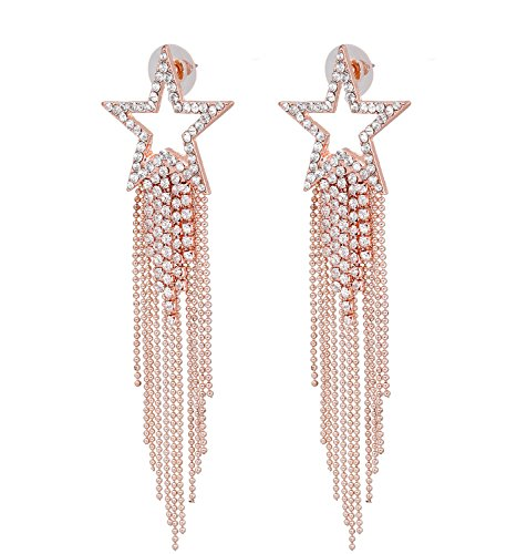 Women's Tassel Earrings Star Ear Stud Pave Crystal Dangle Earrings Boho Waterfall Beaded Fringe Drop Earring (rose gold)