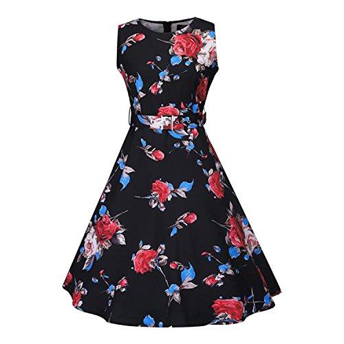 Et Rouge Taille de Robe Party Plage Impression Robe Motif Manche Floral avec sans Midi Haute Fille Ceinture Printemps Soire Semen et Vacances Bleu Femme 5gqS6RnYxw