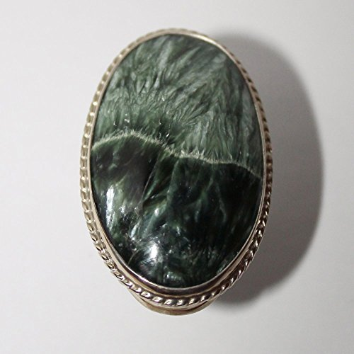 Seraphinite Ring, Clinochlore Ring, 10 size ring (Huge Openwork)